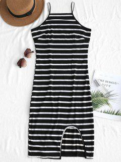 Cutout Striped Dress - Black M