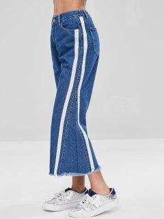 Stripe Side Frayed Hem Jeans - Denim Dark Blue M