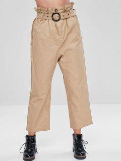 Paper Bag High Waisted Pants - Light Khaki S