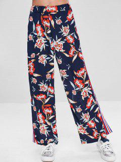 Side Striped Floral Palazzo Pants - Multi L