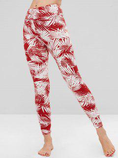 Tropical Palm Leaf Print Soft Leggings - Red