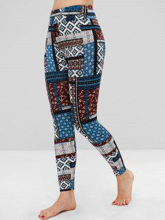 Mixed Print High Waisted Ankle Leggings - Multi