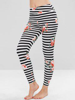 Stripe Floral Clashing Print Soft Ankle Leggings - Multi