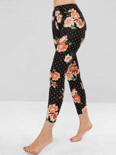 Polka Dot Floral Clashing Print Soft Leggings - Multi