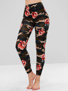 Camo Floral Clashing Print Soft Leggings - Multi