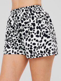 Slit Cow Print Shorts - White
