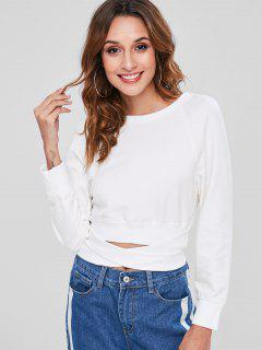 Knot Cropped Sweatshirt - White M
