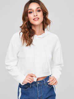 Drop Shoulder Asymmetrical Hoodie - White
