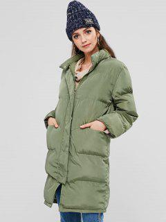 Stand Collar Puffer Quilted Winter Coat - Army Green L