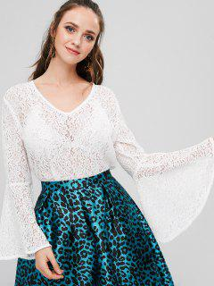 Bell Sleeve Sheer Lace Top - White S