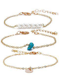 Ensemble De Bracelets Disque En Gemme Avec Fausse Perle - Or