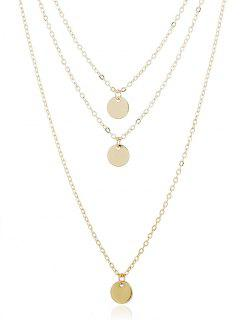 Layer Metal Disc Necklace - Gold