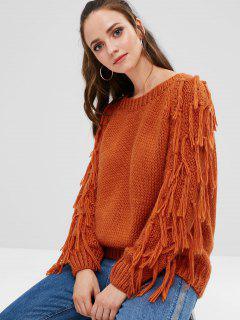 Tassels Chunky Knit Sweater - Papaya Orange