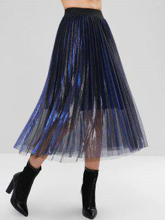 Layered Pleated Reflective Tulle Midi Skirt - Deep Blue M