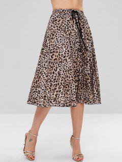 Pleated Leopard Flare Skirt - Leopard M