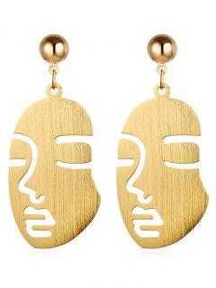 Punk Human Face Alloy Drop Earrings - Gold