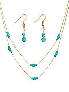Stylish Faux Turquoise Beaded Necklace Earrings Set - Gold