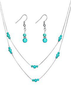 Stylish Faux Turquoise Beaded Necklace Earrings Set - Silver