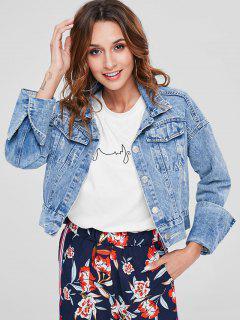 Button Up Distressed Denim Jacket - Denim Blue L