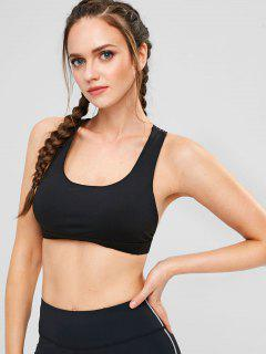 Cross Strap Sports Padded Bra - Black M