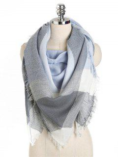 Checked Pattern Fringed Long Scarf - Blue Gray One Szie