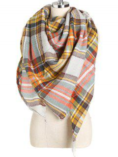 Elegant Tartan Fringed Long Scarf - Goldenrod One Szie