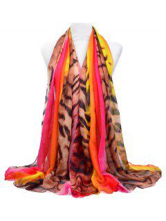 Leopard Print Fall Winter Long Scarf - Love Red
