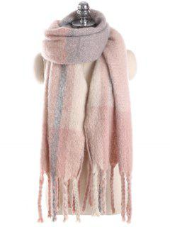 Unique Plaid Fringed Long Scarf - Pink One Szie