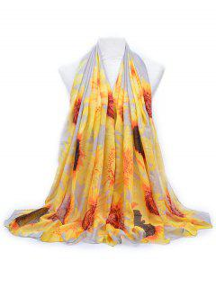 Elegant Sun Flower Printed Long Scarf - Light Gray