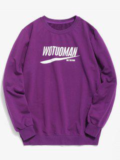 Chest Letter Print Casual Sweatshirt - Purple M