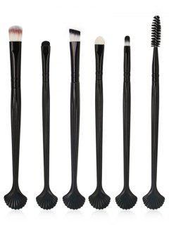 6Pcs Shell Shaped Eyeshadow Eyebrow Blending Cosmetic Brush Suit - Black