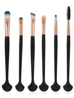 6Pcs Shell Shaped Eyeshadow Eyebrow Blending Cosmetic Brush Suit - Rose Gold