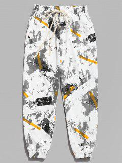 Striped Ink Print Jogger Pants - White M