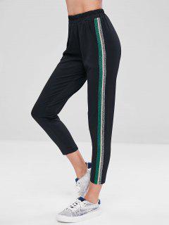 Striped Trim High Waist Pants - Black L
