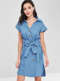 Slit Button Up Shirt Dress - Sky Blue M