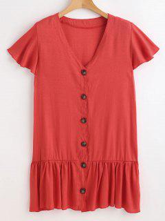 Button Front V Neck Dress - Valentine Red L