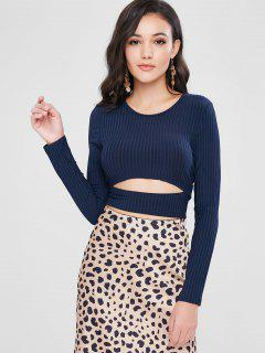 Cut Out Ribbed Short T-shirt - Deep Blue M