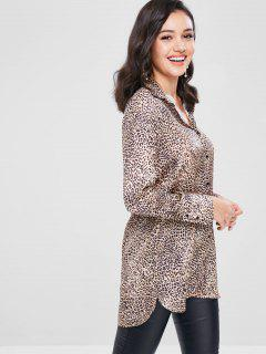 Button Up Leopard Longline Shirt - Leopard L