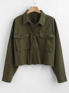 Utility Pockets Shacket Oversized Shirt - Army Green S