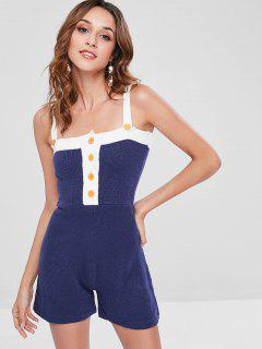 Wide Strap Sweater Romper - Blue