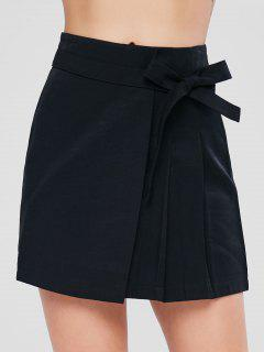 Knotted Overlap Skirt - Black L