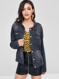 Faded Button Up Jean Jacket - Gray Wolf M