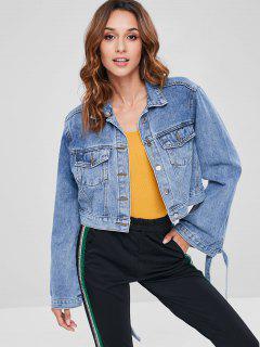 Tie Sleeve Crop Denim Jacket - Denim Dark Blue S