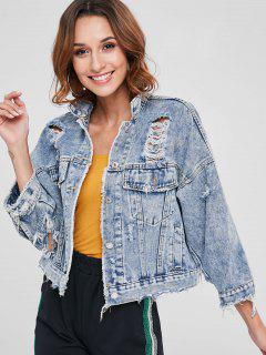 Cut Out Ripped Denim Jacket - Denim Blue