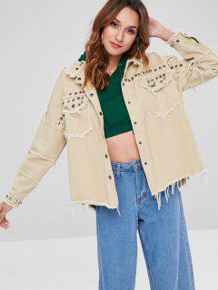 Frayed Hem Rivet Loose Jacket - Light Khaki