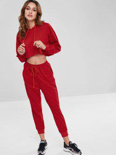 Cropped Hoodie And Joggers Pants Co Ord Set - Red