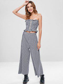 Smocked Buttoned Plaid Tube Top Set - Black M