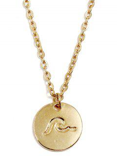 Round Sea Wave Printed Pendant Necklace - Gold
