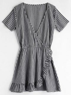 ZAFUL Gingham Ruffles Mini Dress - Black L