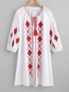 Quasten Bestickte Gerade Kleid - Weiß L